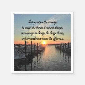 AWE-INSPIRING SERENITY PRAYER SUNSET PHOTO DESIGN NAPKIN