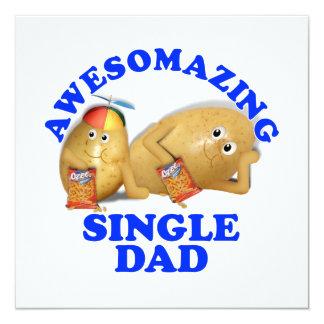 "Awesomazing Single Dad - Father & Son Potatoes 5.25"" Square Invitation Card"