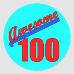Awesome 100 Awesome at 100 Years Old Round Stickers