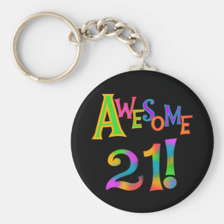 Awesome 21 Birthday T-shirts and Gifts Basic Round Button Keychain