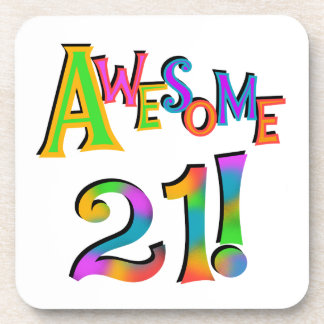 Awesome 21 Birthday T-shirts and Gifts Beverage Coasters