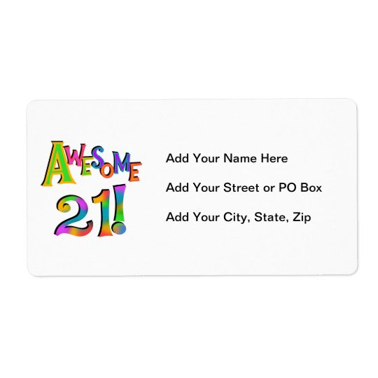 Awesome 21 Birthday T-shirts and Gifts Label