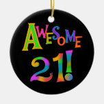 Awesome 21 Birthday T-shirts and Gifts Double-Sided Ceramic Round Christmas Ornament