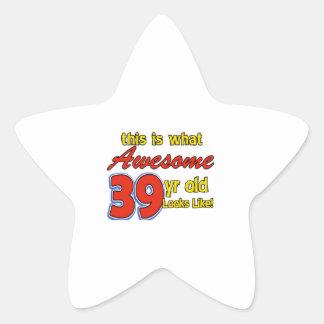 Awesome 39 year old birthday designs star sticker