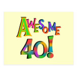 Awesome 40 Birthday T-shirts and Gifts Post Card