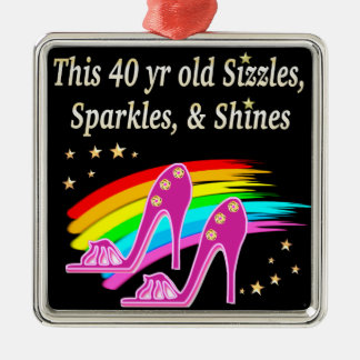 AWESOME 40TH SHOE LOVER SQUARE METAL CHRISTMAS ORNAMENT