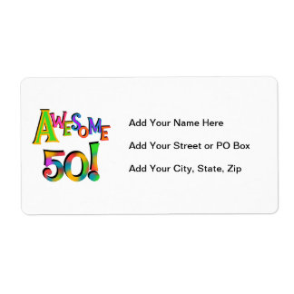 Awesome 50 Birthday T-shirts and Gifts Custom Shipping Label