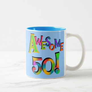 Awesome 50 Birthday T-shirts and Gifts Two-Tone Mug