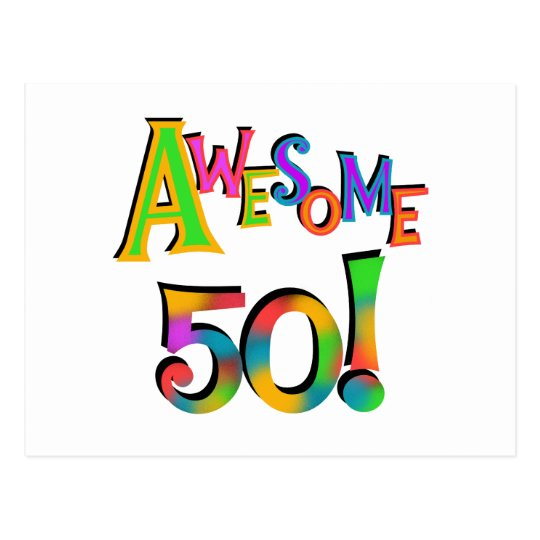 Awesome 50 Birthday T-shirts and Gifts Postcard