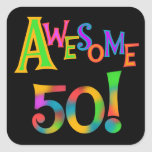 Awesome 50 Birthday T-shirts and Gifts Square Stickers