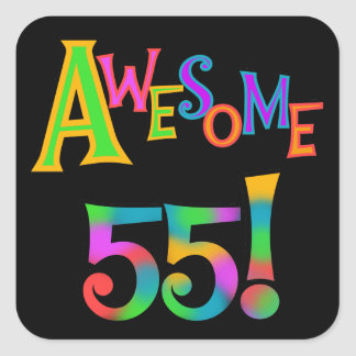 Awesome 55 Birthday T-shirts and Gifts Square Stickers