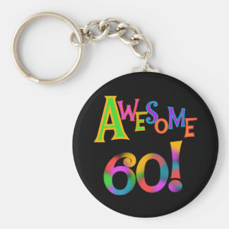 Awesome 60 Birthday T-shirts and Gifts Basic Round Button Keychain