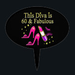 """AWESOME 60TH BIRTHDAY DIVA DESIGN CAKE TOPPER<br><div class=""""desc"""">This Fashion Loving 60 year old Shoe Queen will adore our pink High Heels and lipstick 60th birthday T Shirts, Apparel and exceptional gifts such as jewelry, home d&#233;cor, party goods, mugs and more. Surprise your trend setting 60 year old with this stylish 60th birthday design that she will cherish...</div>"""