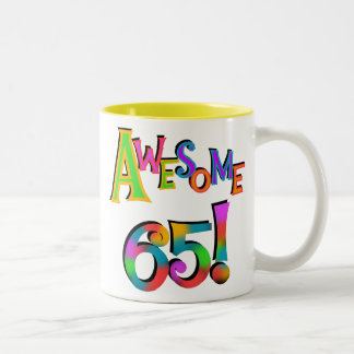 Awesome 65 Birthday Tshirts and Gifts Two-Tone Coffee Mug