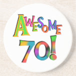 Awesome 70 Birthday T-shirts and Gifts Beverage Coasters