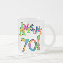 Awesome 70 Birthday T-shirts and Gifts Frosted Glass Coffee Mug