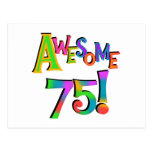 Awesome 75 Birthday T-shirts and Gifts Post Cards