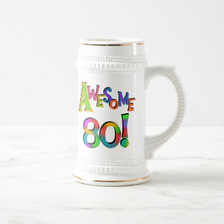 Awesome 80 Birthday T-shirts and Gifts Beer Stein