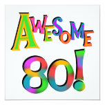 """Awesome 80 Birthday T-shirts and Gifts 5.25"""" Square Invitation Card"""