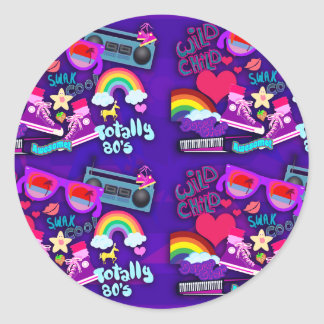 Awesome 80 s Purple Collage Round Stickers