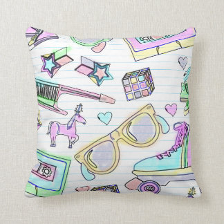 Awesome 80's Coloring Book Pattern Pillows