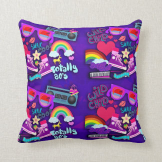 Awesome 80's Purple Collage Throw Pillows