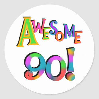 Awesome 90 Birthday T-shirts and Gifs Classic Round Sticker