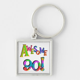 Awesome 90 Birthday T-shirts and Gifs Silver-Colored Square Keychain