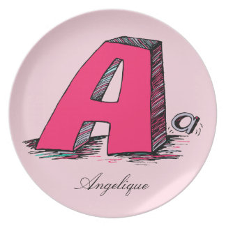 Awesome A Pink Monogrammed Plate