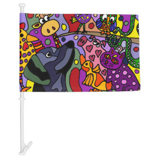 Awesome Abstract Art Animals Car Flag