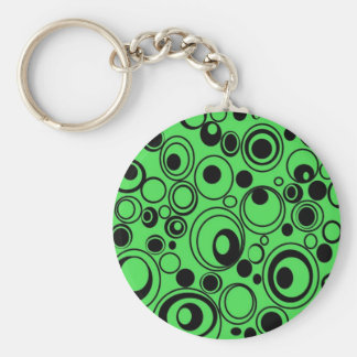 Awesome Abstract Circles Green Black Design Keychain
