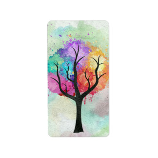 Awesome abstract pastel colours oil paint tree address label