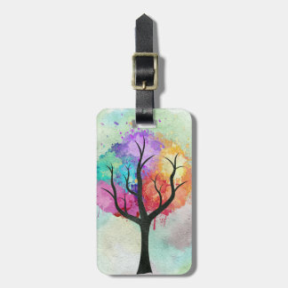 Awesome abstract pastel colours oil paint tree bag tag