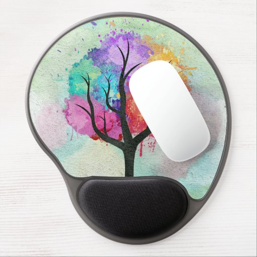 Awesome abstract pastel colours oil paint tree gel mouse pads