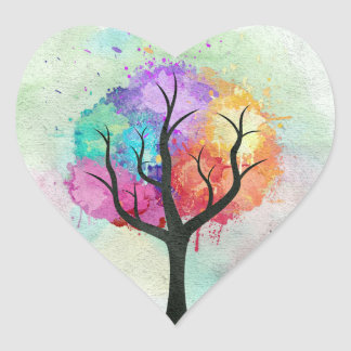 Awesome abstract pastel colours oil paint tree heart sticker