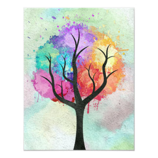 """Awesome abstract pastel colours oil paint tree 4.25"""" x 5.5"""" invitation card"""