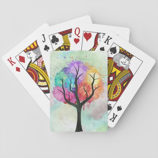 Awesome abstract pastel colours oil paint tree card decks