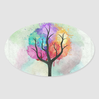 Awesome abstract pastel colours oil paint tree oval sticker