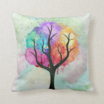 Awesome abstract pastel colours oil paint tree pillow