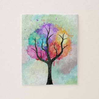 Awesome abstract pastel colours oil paint tree puzzle