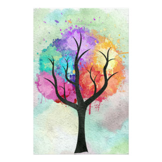 Awesome abstract pastel colours oil paint tree stationery