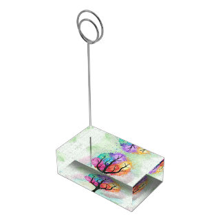 Awesome abstract pastel colours oil paint tree table card holder
