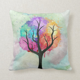 Awesome abstract pastel colours oil paint tree throw pillow