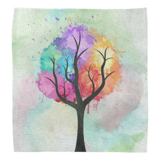 Awesome abstract pastel colours oil paint tree bandana