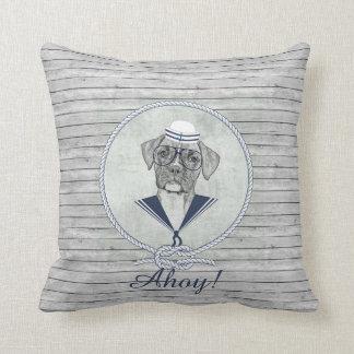 Awesome  adorable funny sailor ahoy boxer dog throw pillow