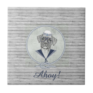 Awesome  adorable funny sailor ahoy boxer dog ceramic tile
