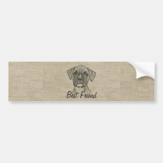 Awesome  adorable funny trendy boxer puppy dog bumper sticker
