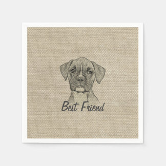 Awesome  adorable funny trendy boxer puppy dogv standard cocktail napkin