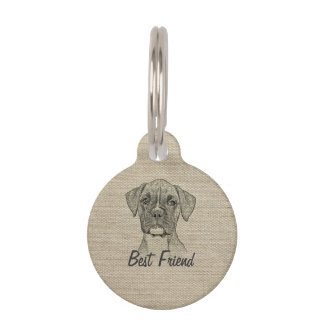 Awesome  adorable funny trendy boxer puppy dogv pet name tag
