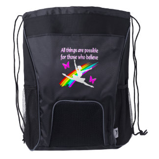 AWESOME ALL THINGS ARE POSSIBLE BALLERINA DESIGN DRAWSTRING BACKPACK